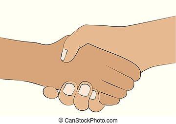 握手, 人々, 手, 隔離された, 2, 背景, 振動, 白