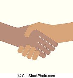 握手, 人々, 手, pictogram, 隔離された, 背景, 振動, 白
