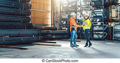 握手, 労働者, 倉庫, 顧客