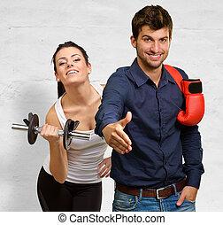 握手, 女, 運動, ボクサー, 前部, 作成