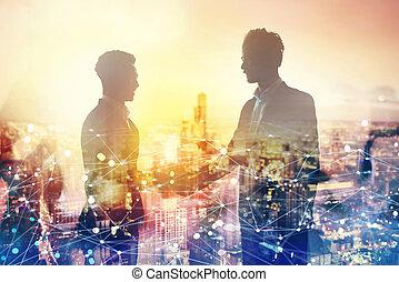 握手, 概念, ネットワーク, オフィス, effect., 協力, 2, businessperson, チームワーク