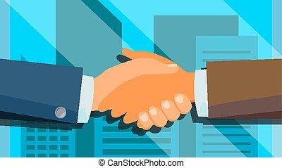握手, 概念, vector., 幸せ, partnership., 成功, deal., 財政,...