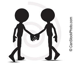 握手, 男性, シルエット, 3d