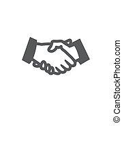 握手, 白い背景, アイコン