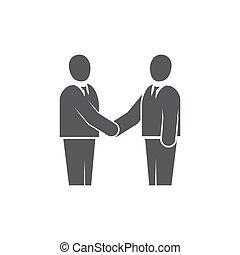 握手, 背景, 白, アイコン