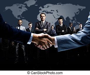 握手, 隔離された, 上に, ビジネス
