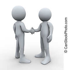 握手, 3d, 人々