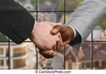 握手, daytime., ビジネス, partners'
