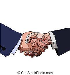 握手, illustration., ビジネス 人々, partnership., ベクトル