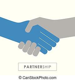 握手, pictogram, 隔離された, 白, 手, 振動, 背景の 人々