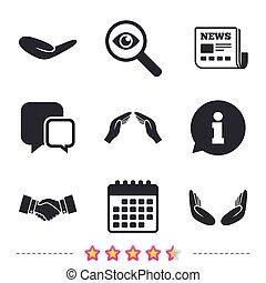 握手, symbols., 保険, icons., 手