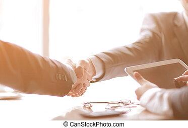 握手, up.confident, オフィスの人々, ビジネス, 終わり