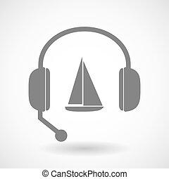援助, アイコン, リモート, 船, ヘッドホン