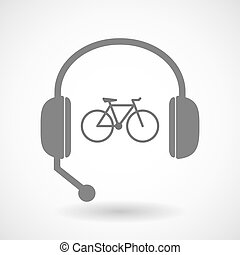 援助, アイコン, 自転車, リモート, ヘッドホン