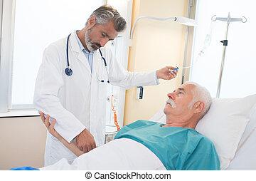 援助, 医者, 患者, シニア