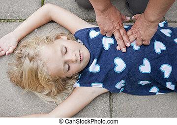 援助, 子供, 受け取ること, 若い, 最初に