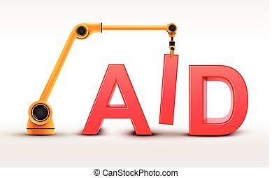 援助, 建物, 産業, ロボティック 腕, 単語