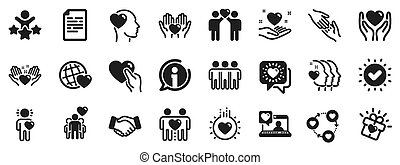 援助, 相互作用, 相互の理解, 愛, business., 友情, icons., ベクトル