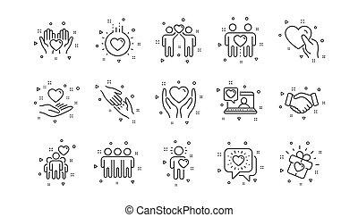 援助, 相互作用, 相互の理解, 愛, business., 線, set., 友情, icons., 線である, ベクトル