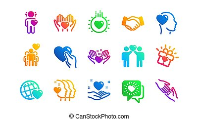 援助, 相互, ベクトル, 愛, 友情, クラシック, set., icons., 理解, business., 相互作用