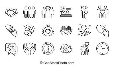 援助, 線, 愛, 相互, 友情, business., 相互作用, set., 理解, 線である, icons., ベクトル