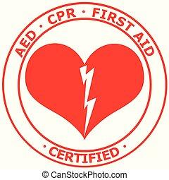 援助, cpr, 証明される, ベクトル, aed, 赤, ステッカー, 最初に, 白