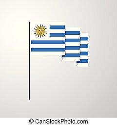 揺れている旗, ウルグアイ, 背景, 創造的