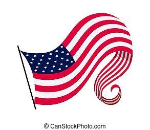 揺れている旗, 国民, イラスト, シンボル, ベクトル, アメリカ人, -, 州, flag., 波状, 背景, america., 合併した, 白