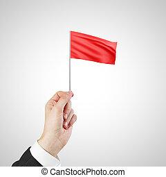 揺れている旗, 赤, 手