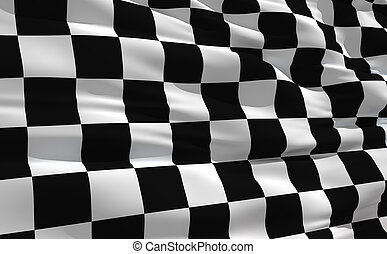 揺れている旗, checkered