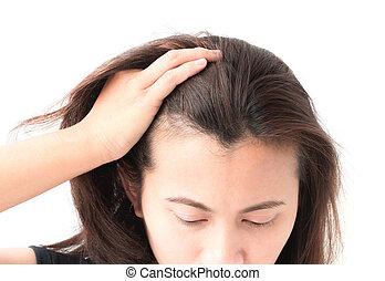損失, プロダクト, 女, 美しさ, シャンプー, 毛, 概念, 健康, 深刻, 問題, 心配