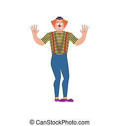 損失, 当惑させている, mixed-up, harlequin., イラスト, ベクトル, clown., ...