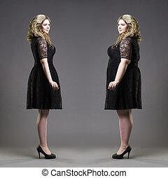 損失, 後で, 重量, 灰色, 概念, ほっそりしている, モデル, プラス, 背景, 黒, 前に, 服, 大きさ
