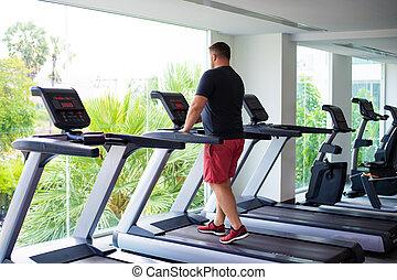 損失, 操業, フルである, 重量, 背中, gym., sport., 概念, 踏み車, ビュー。, マレ