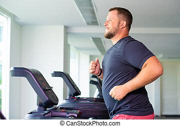損失, 操業, フルである, 重量, gym., sport., 概念, 踏み車, ビュー。, マレ, 側