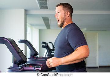 損失, 操業, フルである, 重量, gym., sport., 概念, 踏み車, ビュー。, マレ, 側, 驚かされる
