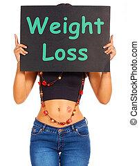 損失, 重量, ダイエットする, アドバイス, 印, ショー