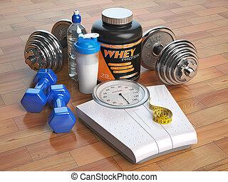 損失, dumbbells, shaker., 重量規模, concept., 健康, lifestyle., 健身, 粉, bodybuilding, 蛋白質, whey, 或者