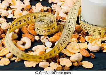 損失, lifestyle., シリアル, 重量, バックグラウンド。, 木製である, 食物, テープ, センチメートル, 健康