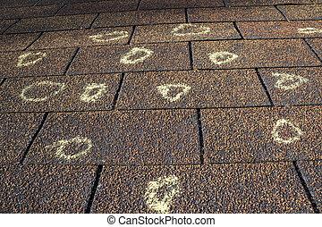 損害, あられ, 調節装置, マーク付き, 屋根, 保険