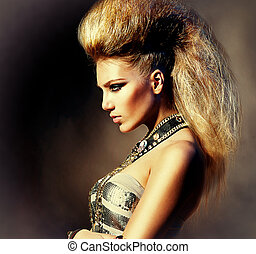 搖滾歌手, 風格, 時裝, 發型, portrait., 模型, 女孩