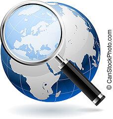 搜尋, 概念, eps10, 全球, 被隔离, 背景。, 白色, file.