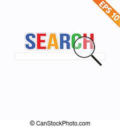 搜尋, 概念,  eps10, 擴大,  -, 插圖, 矢量, 放大器