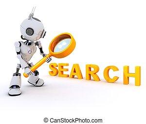 搜尋, 玻璃, 擴大, 機器人