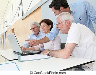 搜尋, 組, 人們, 參加, 工作, 年長者, 會議