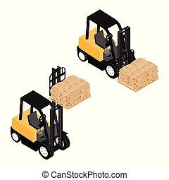 搬运, 袋子, 装载, 木制, 货物, 重, 可靠, 卡车, 铲车, 水泥, 扁平木具