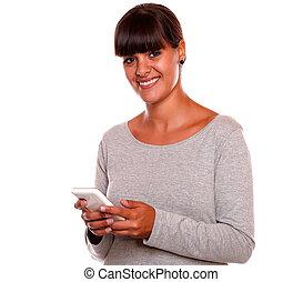 携帯電話, かなり, 若い見ること, 女性, 使うこと, あなた
