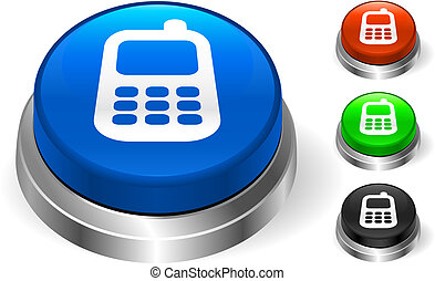 携帯電話, アイコン, 上に, インターネット, ボタン