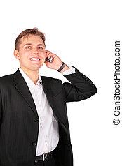 携帯電話, 人, 若い, スーツ
