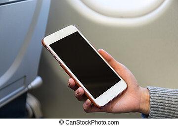 携帯電話, 使用, 女, 中, 飛行機